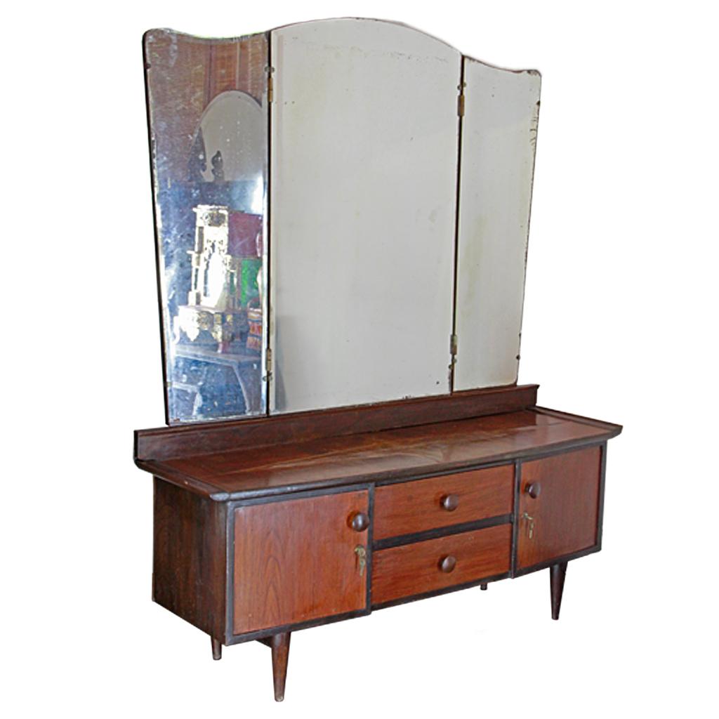 Thai retro teak low dressing table with tri fold vanity for Retro dressing table