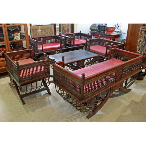 "Teak Living Room Furniture: Northern Thai Bamboo And Teak Elephant Chair (""Howdah"