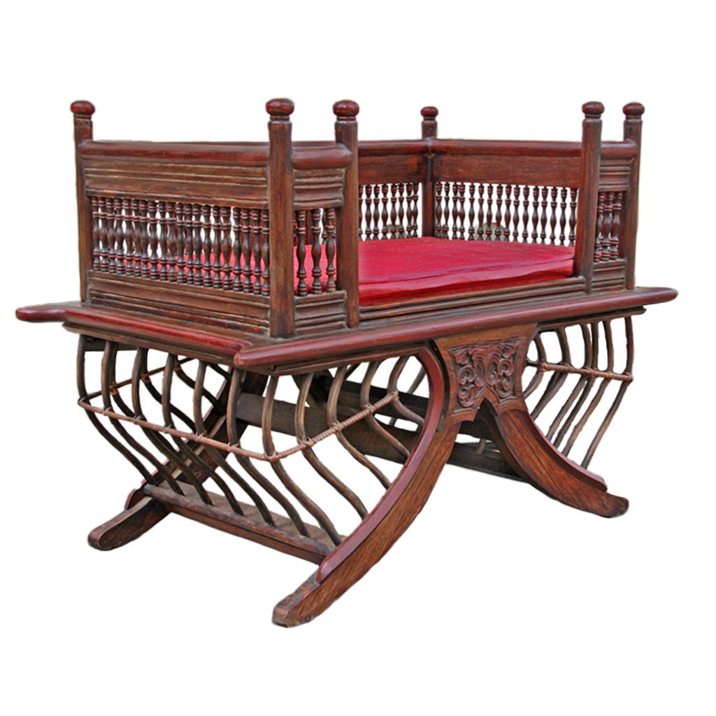"Thai Teak Coffee Table: Northern Thai Bamboo And Teak Elephant Chair (""Howdah"