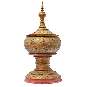 Large Mandalay Gilded Lacquered with Glass Inlay Offering Vessel