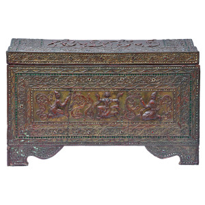 Mandalay Moulded Relief Gilded Lacquered Teak Manuscript Chest