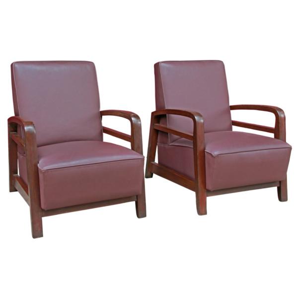 Burmese Leather and Teak Art-Deco Club Chair