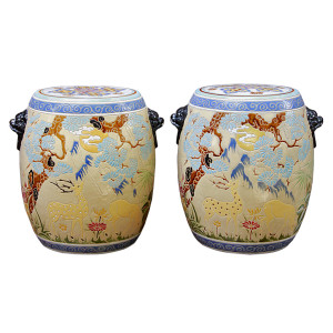 Pair of Chinese Ceramic Stools with Lion Handles Decorated with Deer