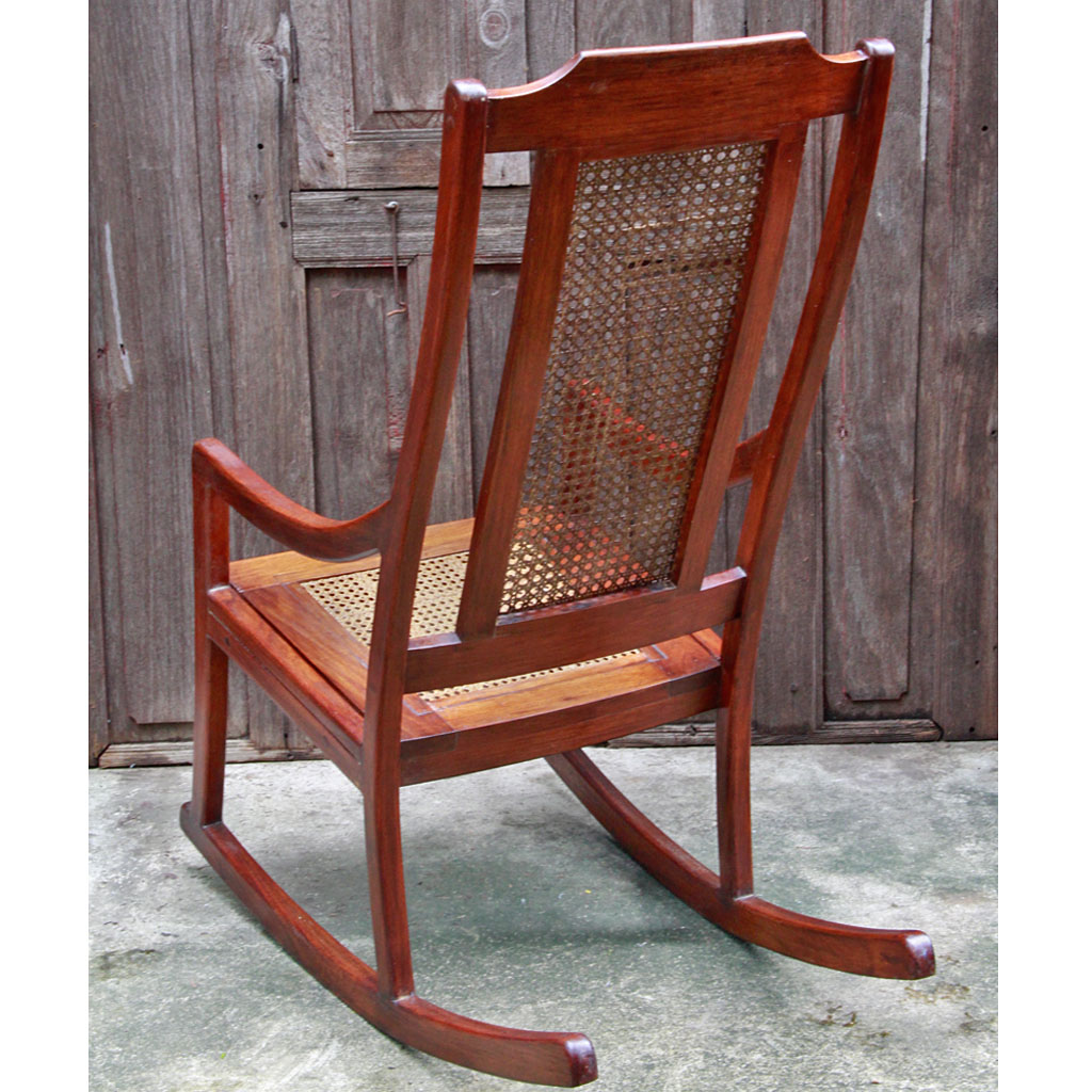 Reproduction Colonial Era Burmese Teak And Rattan Rocking