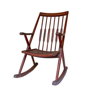 Elegant Antique Thai Teak Rocking Chair