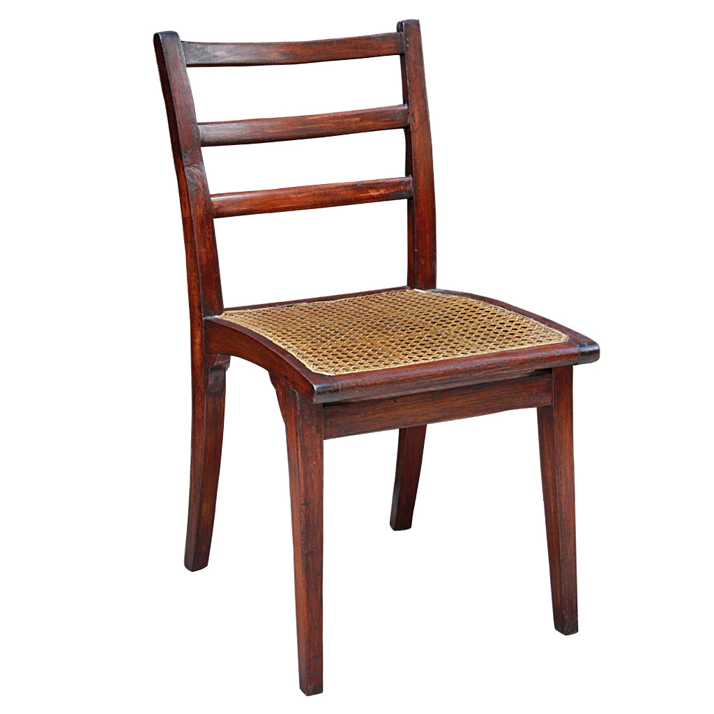 Rattan Dining Chairs: Colonial Burmese Teak And Rattan Dining Chairs