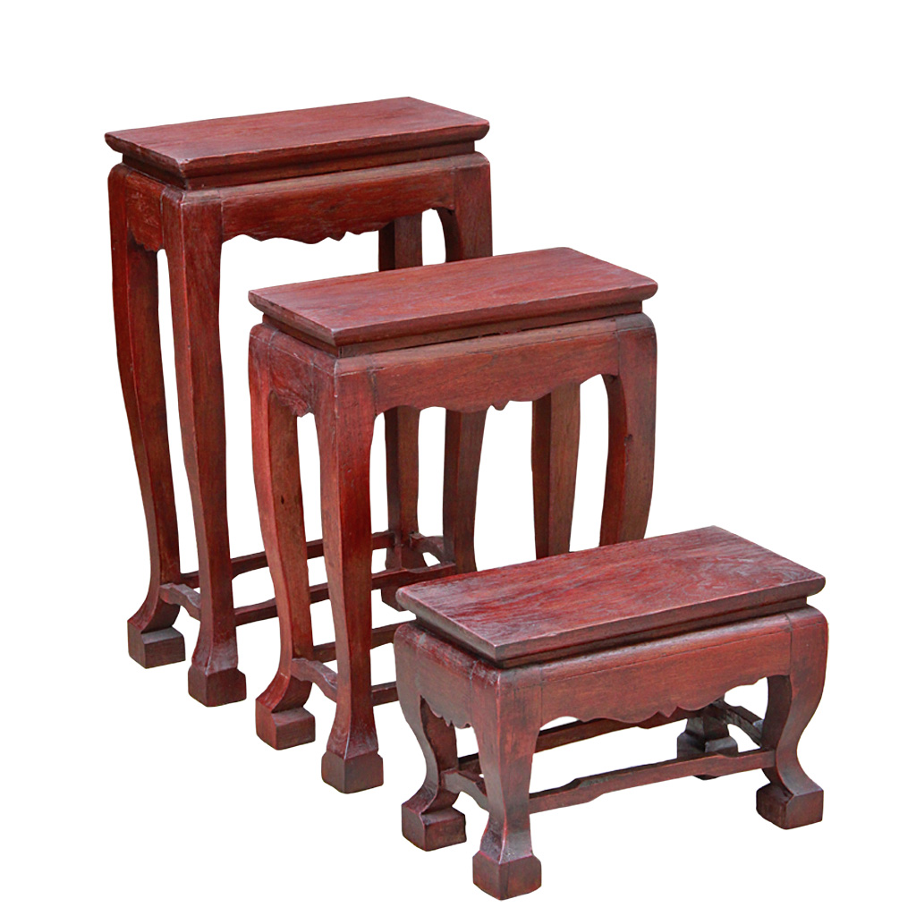 Thai Teak Coffee Table: Small Trio Of Thai Teak Altar Tables