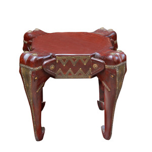 Indian Wood and Brass Elephant Stool/Side-table