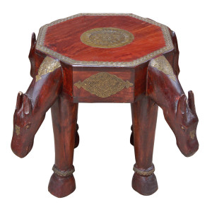 Indian Hard Wood and Brass Stool/Side-table with Horse Motif