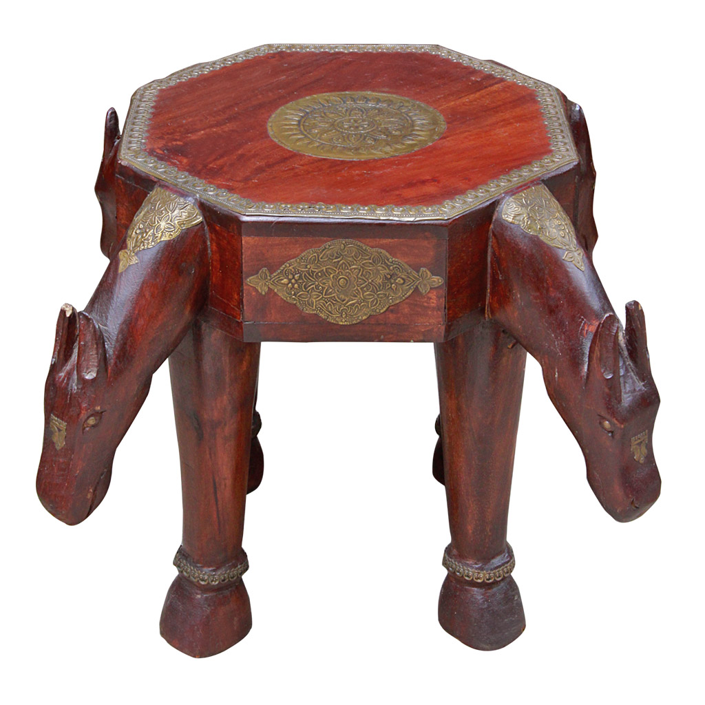 Indian Hard Wood And Brass Stool Side Table With Horse Motif