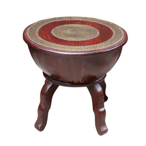 Indian Wood and Brass Stool/Side-table