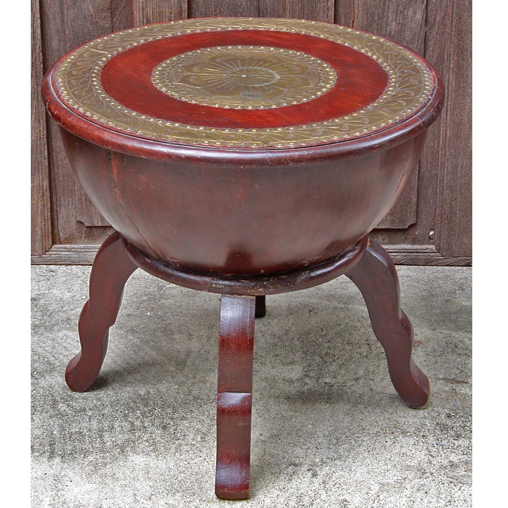 Indian Hard Wood And Brass Stool Side Table
