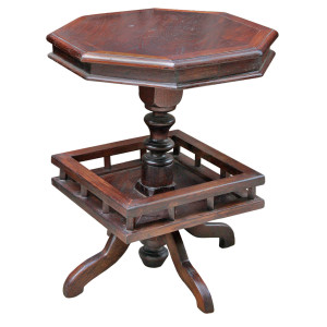 Colonial Octagonal Pedestal Teak Table with Custom Bottom Shelf