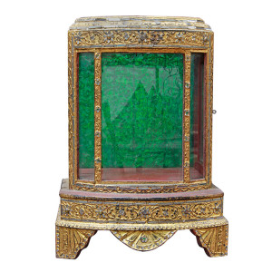 Mandalay Gilded with Glass Inlay Lacquered Buddha Display Case