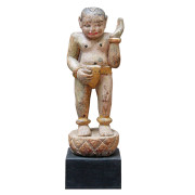 Burmese Teak Carving of Single Gong Carrier in Loin Cloth on Stand