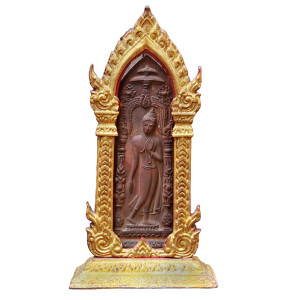 Thai Bronze Plate Depicting Walking Buddha in a Gold Color Metal Frame