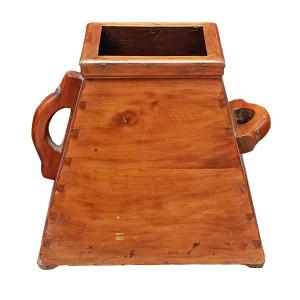 """Chinese Elm Wood """"Dou"""" Rice Measuring Basket"""