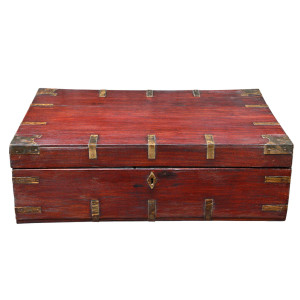 Colonial Burmese Teak Chest with Brass Fittings