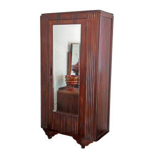 Colonial-era Burmese Art-Deco Linen Wardrobe with Full-length Mirror