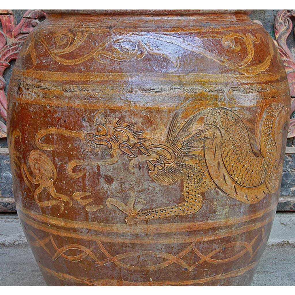Old Ratchaburi Ceramic Water Jar Or Dragon Pot