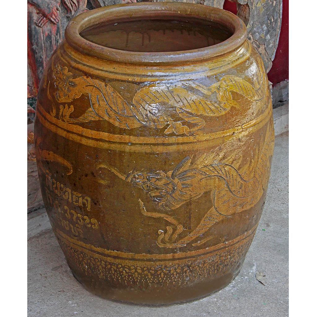 Old Ratchaburi Ceramic Water Jar Or Dragon Pot With