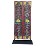 Old Chinese-Thai Carved Teak Temple Doors on Stand