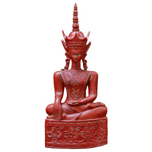 Burmese Lacquered Teak Buddha Sitting in Bhumisparsha (Mother Earth-as-Witness) Pose