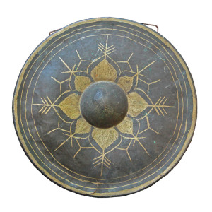 Thai Brass Gong with Gold Painted Lotus Flower
