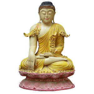 Burmese Buddha Sitting in Bhumisparsha in Stylized Yellow Robes atop a Pink Lotus Flower