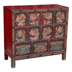Antique Tibetan Scripture Meditation Chest depicting Wrathful Demon