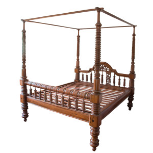 Colonial-era Burmese King-size Four-poster Teak Bed with Extra-large Posters