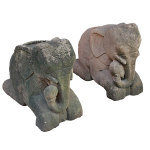 Pair of Large Rare Burmese Antique Sandstone Elephant House Pillar Guardian Holders