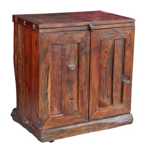 Northern Thai Recycled Teak Folding Bar Cabinet on Wheels