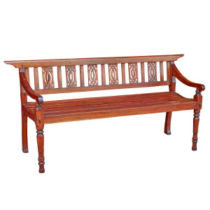 "Antique Thai Teak ""Gingerbread"" Garden Bench"