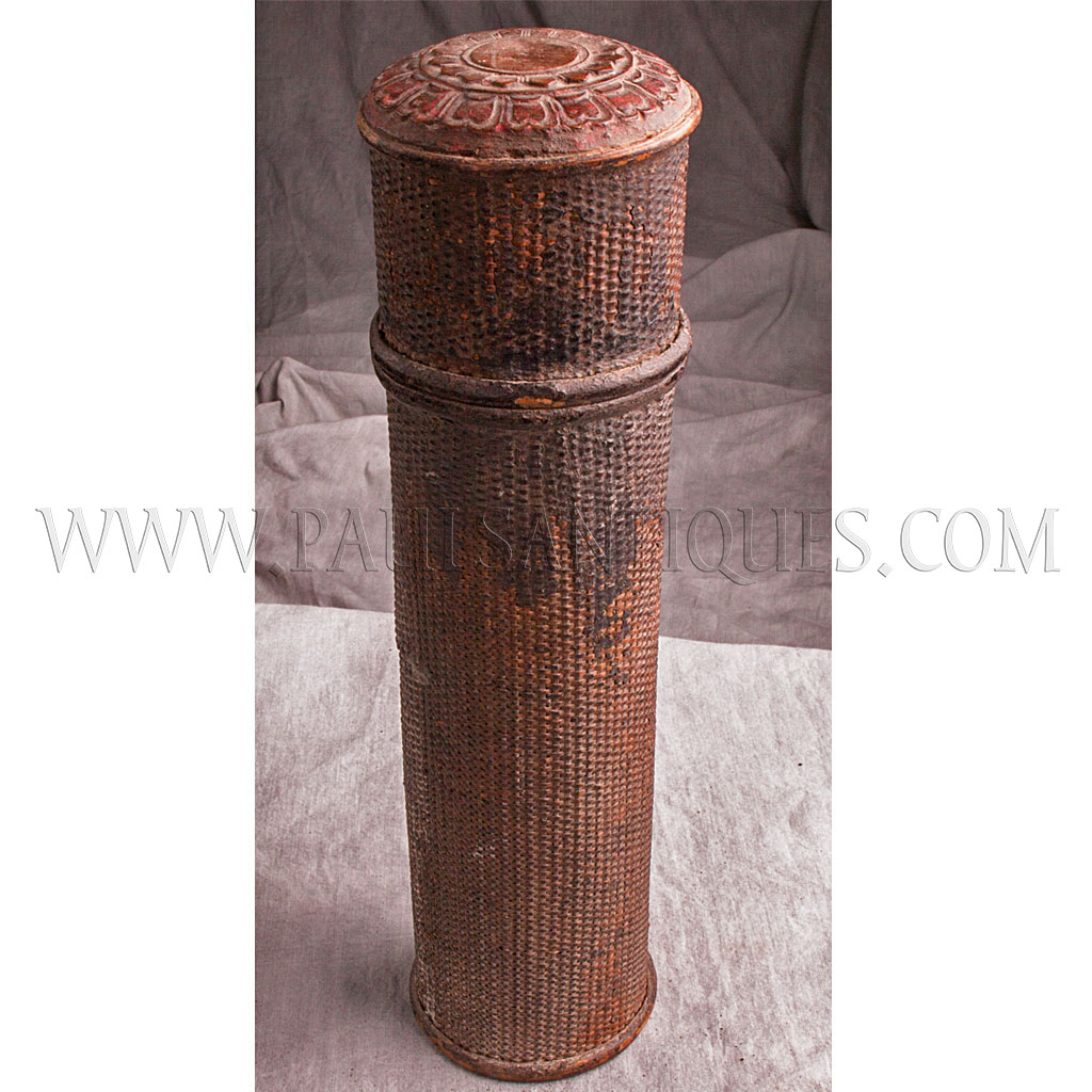 Antique Cambodian Bamboo And Woven Rattan Scroll Box