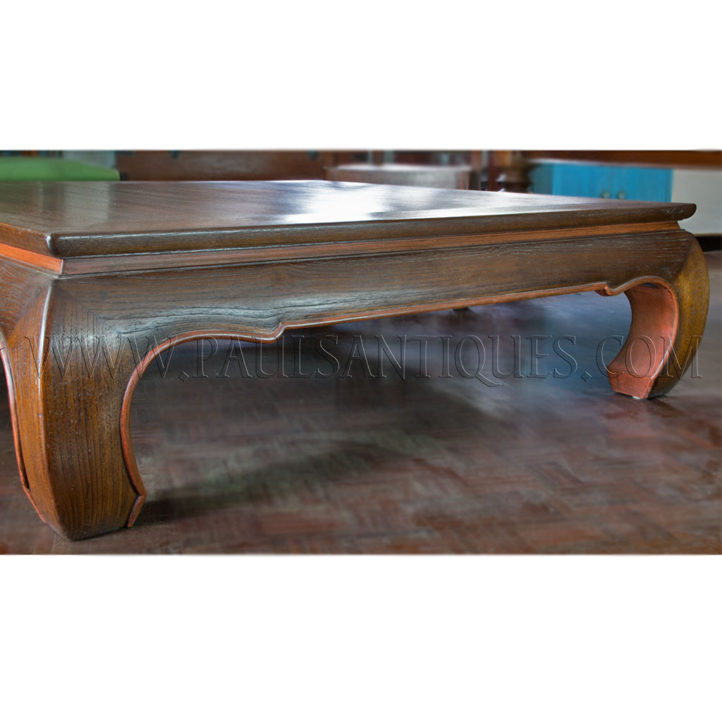"Large Thai Teak Coffee Table with ""Opium"" Table Legs (""Kha ..."