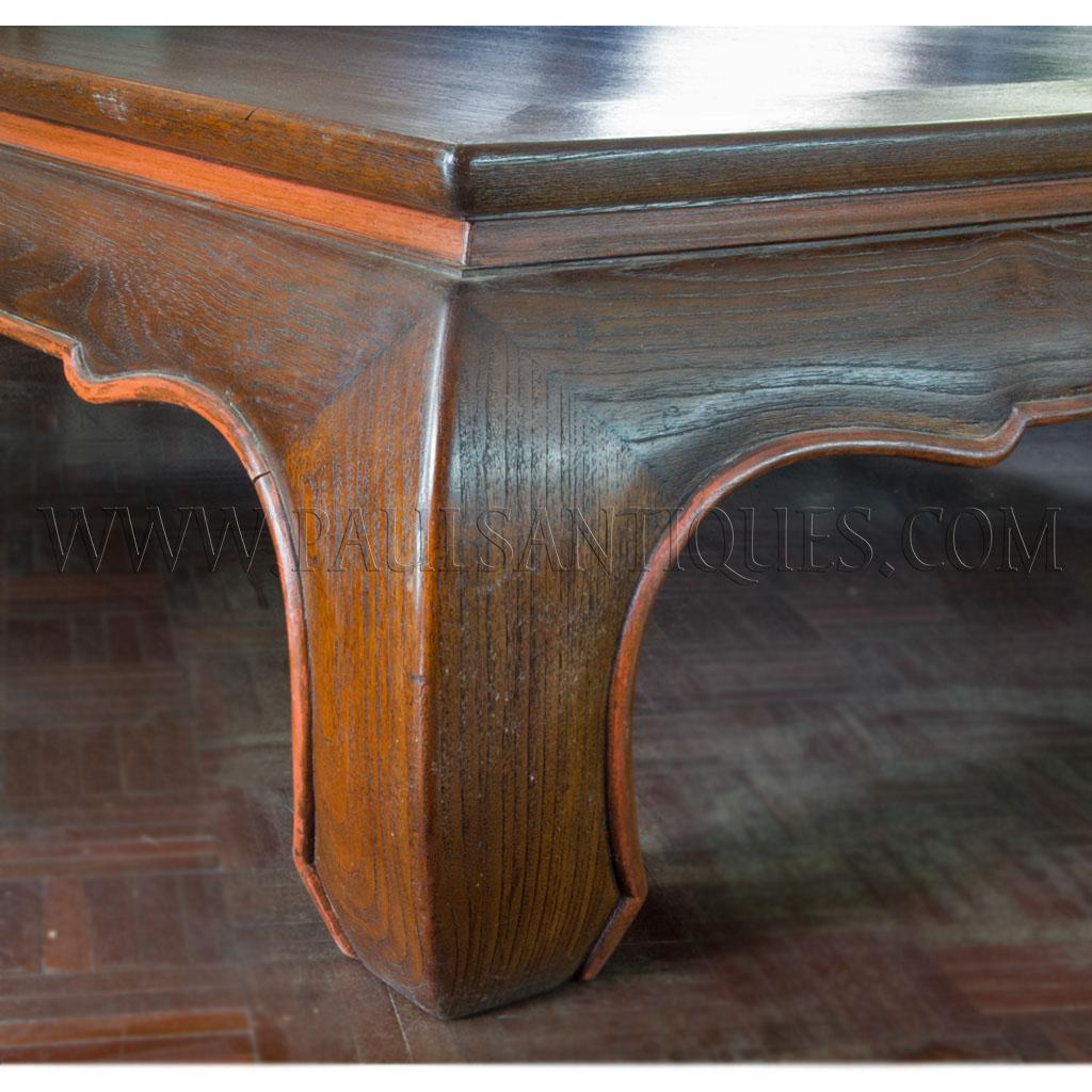 """Coffee Table Legs Singapore: Large Thai Teak Coffee Table With """"Opium"""" Table Legs (""""Kha"""