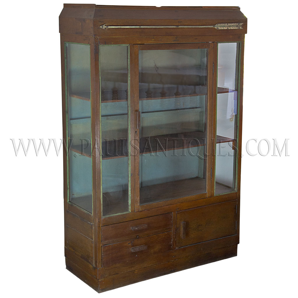 Thai Art Deco Display Cabinet With Original Paint And Arrow Motif