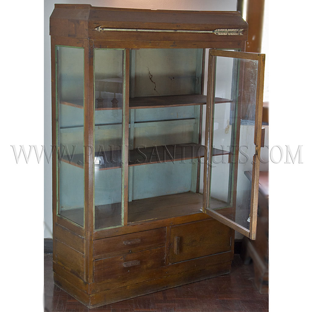 Thai Art Deco Display Cabinet With Original Paint And