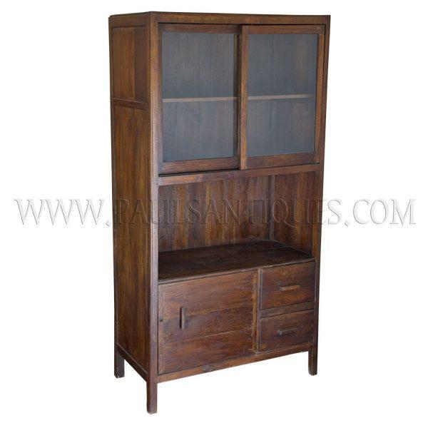 Art Deco Kitchen Cabinets: Colonial Burmese Art-Deco Teak And Glass Kitchen Cabinet