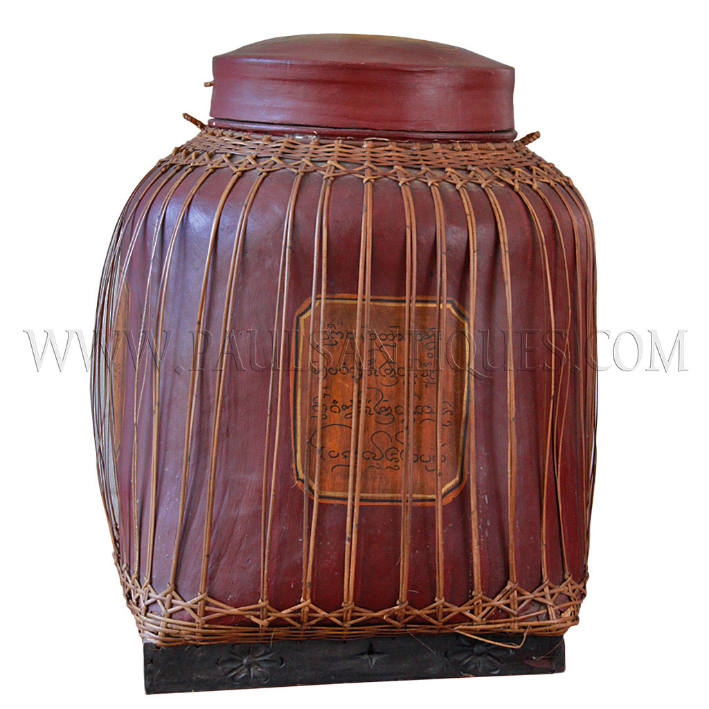 Large Northern Thai Lacquered Hand woven Bamboo Rice Storage Container