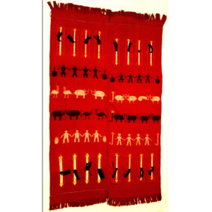 Northwest Burma Naga Multi-purpose Handwoven Cloth Embroidered with Figures and Symbols, c. 1990s