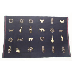 Northwest Burma Naga Multi-purpose Cotton Cloth Embroidered with Animal Figures and Nature Symbols, c. 1990s