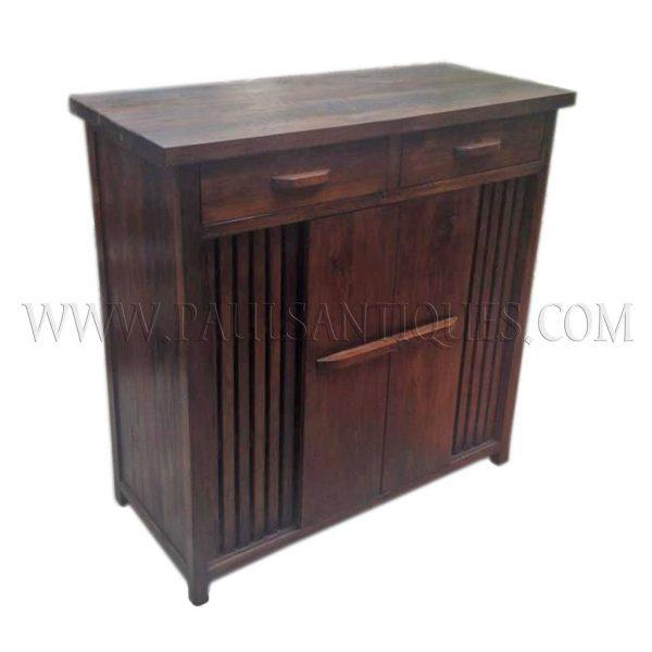 Custom Reclaimed Teak Shoe Cabinet with Mesh-backed Ventilation Slats and Sliding Doors