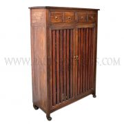 Custom Reclaimed Teak Shoe Cabinet with Storage Drawers and Ventilated Mesh-backed Slated Doors