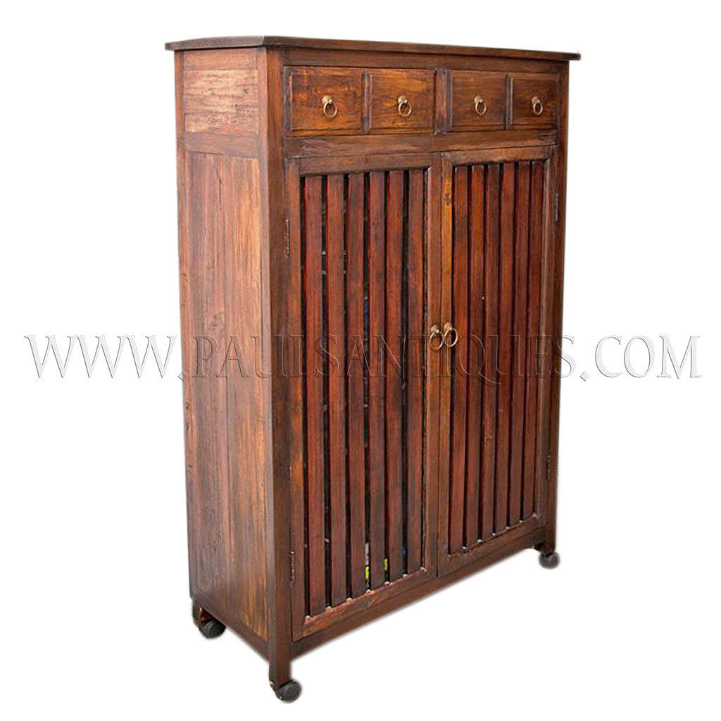 Custom Reclaimed Teak Shoe Cabinet With Storage Drawers And Ventilated  Mesh Backed Slated Doors