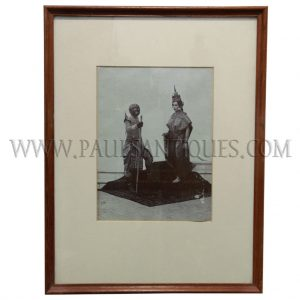Original G.R. Lambert Studios Photograph of Royal Siamese Court Dancers, Circa 1880 in Teak Frame
