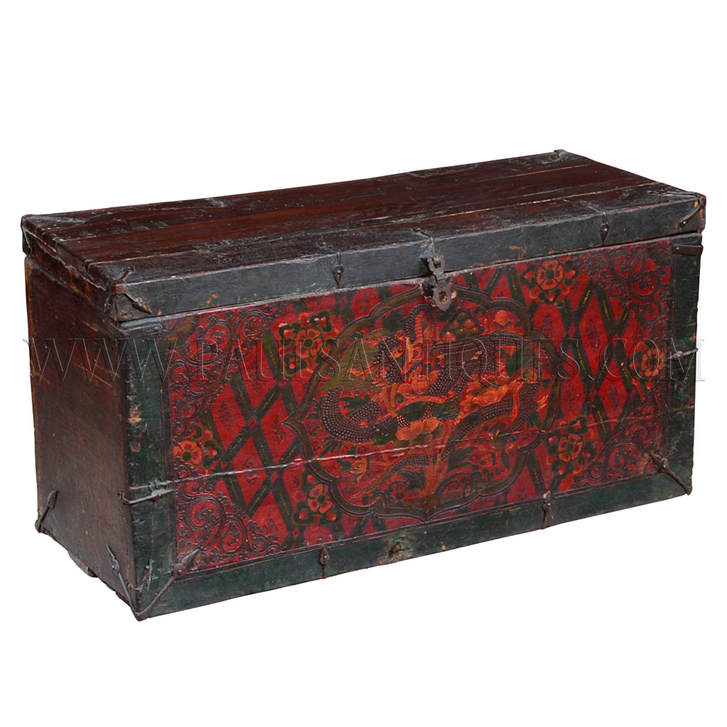 Decorative Trunk Boxes: Rare Tibetan Chest With Gesso Painting Of Dragons
