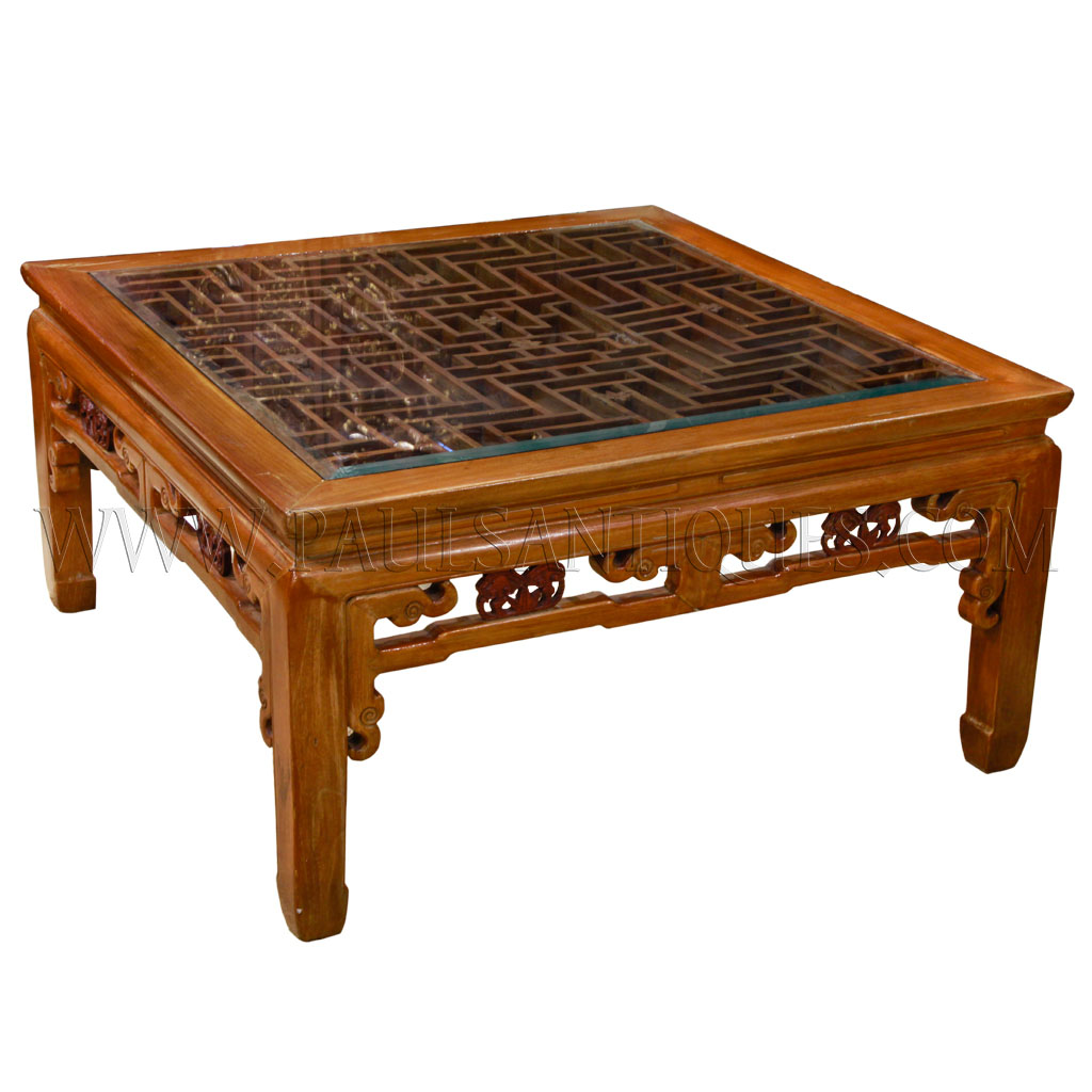 Carved Coffee Table Glass Top Chinese: Old Chinese Elmwood Latticework With Glass Top Coffee Table