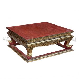 "Rare Antique Thai Teak ""Lai Rot Nam"" (Gilded Lacquer) Altar Table"